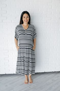 3e77c6eb61581 Undercover Mama Black and White Varied Stripe House Dress. The modern house  dress for the