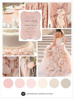 Want a pink wedding inspired by the Pantone color of the year? This dreamy rose quartz wedding inspiration board has romantic wedding colors and ideas. Pink Wedding Colour Theme, Romantic Wedding Colors, Wedding Color Schemes, Wedding Themes, Our Wedding, Dream Wedding, Wedding Decorations, Wedding Ideas, Wedding Paper Divas