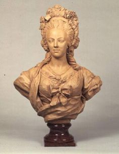 Anonymous painter-Terracotta bust of Marie Antoinette in the manner of Augustin Pajou