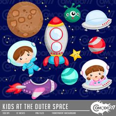 Kids at the Outer Space Clipart / Digital Clip Art by comodo777