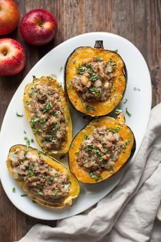 Stuffed Squash with Sausage and Apples (Paleo and Whole30)