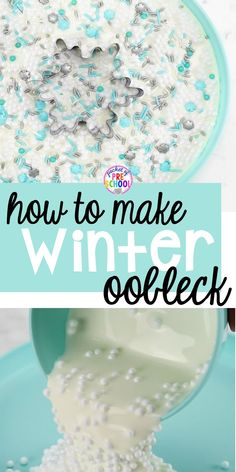 How to make oobleck goop for a winter theme! Sensory fun for preschool, pre-k, and kindergarten! #sensory #oobleck #preschool Winter Activities For Kids, Pre K Activities, Hands On Activities, Sensory Activities, Kindergarten Activities, Preschool Activities, Preschool Winter, Sensory Play, How To Make Oobleck