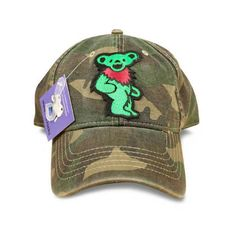 Gifts For Deadheads: GRATEFUL DEAD CAP - Dancing Bear, Camo, Baseball Hat, Embroidered, Handmade, Deadhead Gift, Cyber Week Sale! by ScarletSkull on Etsy