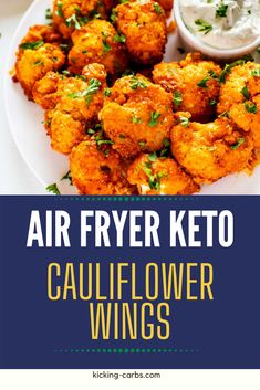 Crispy food without the carbs? Count me in! These Air Fryer Keto Cauliflower Wings is every bit as good as the original. The crispy coating and punchy sauce will keep you coming back for more. #kickingcarbs #cauliflower #easyrecipes #ketodinnerrecipes Best Low Carb Snacks, Keto Snacks, Low Carb Recipes, Low Carb Appetizers, Appetizer Recipes, Dinner Recipes, Party Appetizers, Low Carb Side Dishes, Veggie Side Dishes
