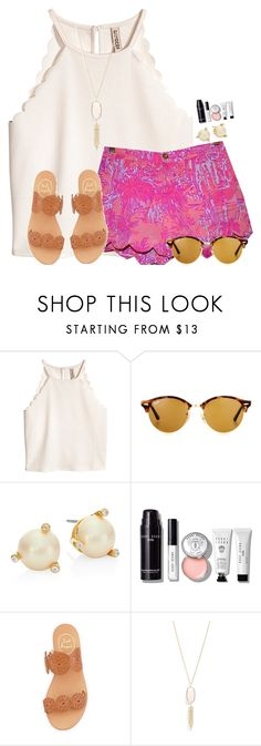 """""""~pretty in pink~"""" by flroasburn ❤ liked on Polyvore featuring Ray-Ban, Kate Spade, Bobbi Brown Cosmetics, Jack Rogers and Kendra Scott"""