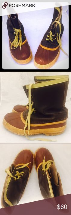 60s Duck Hunting Boots Leather Rubber Mens 10 Men\'s size 10 Vintage Duck Boots made in Canada by Arcotpa.  The upper is rich dark oxblood leather, rubber is a dark rusty red with a golden sole.   Material: leather, rubber sole Brand: Arctopa Origin: made in Canada Era: 60\'s  Size: these are oddly marked women\'s 7 THEY ARE NOT WOMEN\'S 7!!  they fit and measure to a men\'s 10, I had two different size 10\'s try them on and they both said they fit with a little room for thick socks  Condition: showing wear but still good. Vintage Shoes Boots