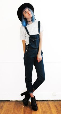 Pockets Solid Color Denim Style Sleeveless Overalls - http://ninjacosmico.com/18-must-have-grunge-accessories-clothing/