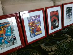 Hit the local flea market or antique store. I found these 80's comic books for $2-3/each, frames from Walmart. Painted them red. Mounted the comic books inside...after my son read them. His room is very cool now! Boys room decor.