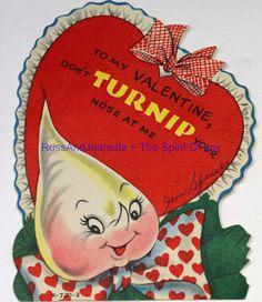 Vintage Valentine Greeting Card Kids Anthropomorphic TURNIP Nose Vegetable Food