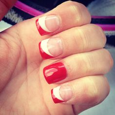 Change out the white for grey and these are perfect for a Lakeland Graduation (minus the all red nail)