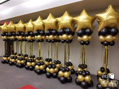 Balloons by Tommy - Balloon Columns Roaring 20s Birthday Party, 70th Birthday Parties, Gold Birthday Party, Grad Parties, Themed Parties, Birthday Balloon Decorations, Birthday Balloons, Graduation Centerpiece, Hollywood Party