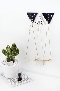 DIY Triangle Clay Necklace Hooks
