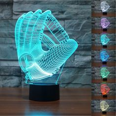 3D Baseball Goves Night Light 7 Color Change LED Table Desk Lamp Acrylic Flat ABS Base USB Charger Home Decoration Toy Brithday Xmas Kid Children Gift * Click image to review more details. (This is an affiliate link and I receive a commission for the sales)