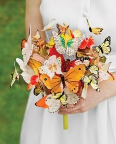 Paper butterfly bouquet - @Natasha Davis it would be cute to incorporate a purple or green butterfly into your bouquet!