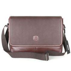 Leather Messenger Bag Men Brown Shoulder Bag HERZ 714