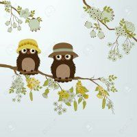 Cute owls on branch with flowers and leafs Poster. Cute Owl, Techno, Pikachu, Teddy Bear, Leaves, Poster, Character, Animals, Owls