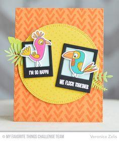 Birds of Paradise stamp set and Die-namics, Myriad Dot Background, Wonky Chevron Background, Double Stitched Circle STAX Die-namics, Precious Polaroids Die-namics, Wild Greenery Die-namics - Veronica Zalis #mftstamps