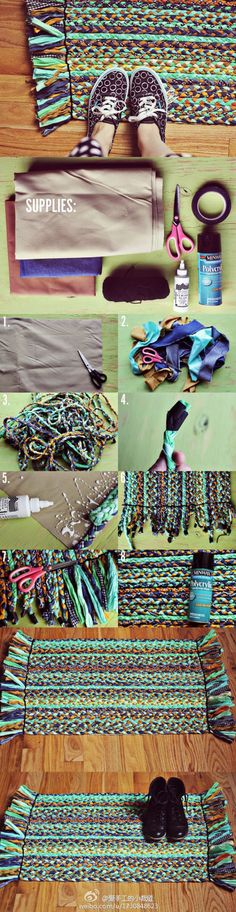 "A different but cute DIY rag rug ""DIY Rug diy crafts craft ideas easy crafts diy ideas diy idea diy home easy diy for the home crafty decor home ideas diy Fabric Crafts, Sewing Crafts, Sewing Projects, Diy Projects To Try, Craft Projects, Diy And Crafts, Arts And Crafts, Easy Crafts, Kids Crafts"