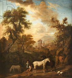 Landscape with Figures, Horses and a Dog, and Ruins in the distance