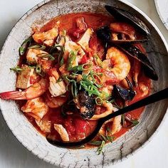 """15.5k Likes, 131 Comments - Food & Wine (@foodandwine) on Instagram: """"Weather #winterstormgrayson today with a hearty, spicy stew, like this gochujang cioppino. 🍲Tap the…"""""""