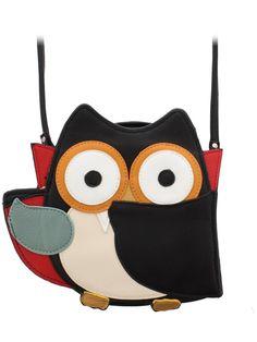 Sleepyville Critters Vampire Owl Shoulder Crossbody Bag Black