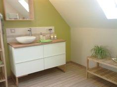 ikea godmorgon with butcher block and vessel sink Wc Bathroom, Bathrooms, Sweet Home, Double Vanity, Modern Decor, Kitchen Decor, Interior, Design, Vessel Sink