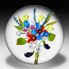 Paul Stankard 1978 'Nature's Splendor' wildflower bouquet glass paperweight. by Paul Stankard