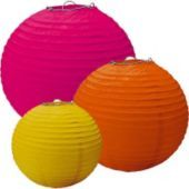Warm Assorted Paper Lanterns - Party City $5.99 1 yellow paper lantern, 8in diameter  1 orange paper lantern, 10in diameter  1 hot pink paper lantern, 12in diameter  Also Sold in Cool Colors: Blue, Teal, Green