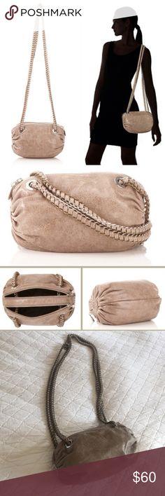"Pour La Victoire Shoulder Bag Simone Long Chain Shoulder Bag by Pour La Victoire in Taupe. Crinkled patent leather, studs on the side. Two-tone chainlink strap, pockets on inside. Height - 6"", Width - 9"", Depth - 4.5"", Shoulder Drop - 20"".  In beautiful condition! Pour la Victoire Bags Shoulder Bags"