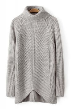 Plain Turtle Neck Long Sleeve Pullover Sweater