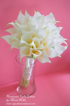 Paper Flowers Handmade Tutorials DIY : Calla Lilly Wedding paper flower Bouquet for Boyd recreation