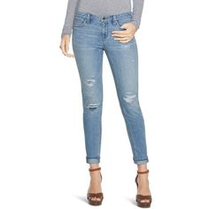 White House Black Market Saint Honore Distressed Girlfriend Jeans ($66) ❤ liked on Polyvore featuring jeans, ripped boyfriend jeans, petite boyfriend jeans, relaxed fit boyfriend jeans, blue jeans and cuffed boyfriend jeans