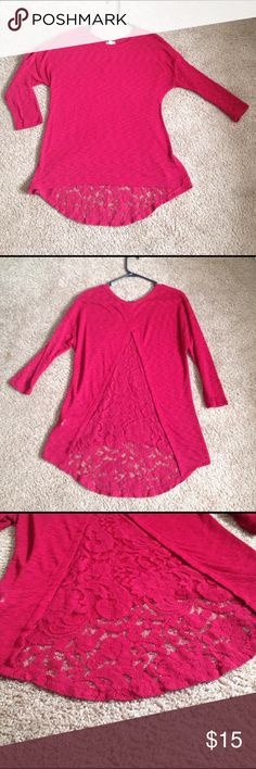 Red lace cutout top Red 3 quarter length sleeve top with lace cutout back detail Eyeshadow Tops Tunics
