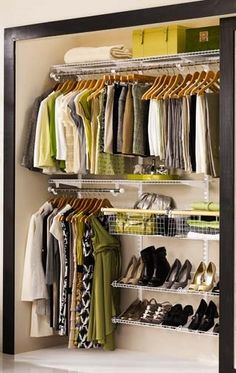 Get the storage space you need with an adjustable, ready-to-go closet system, like this setup from Rubbermaid, for about $90–$180. | Photo: Rubbermaid | thisoldhouse.com
