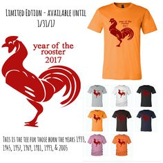 Limited edition tee honoring the 2017 Year of the Rooster! Available until 1/31/17.  The Rooster is tenth in the Chinese zodiac. Each year is related to an animal sign according to a 12-year cycle. This is the tee for those born the years 1933, 1945, 1957, 1969, 1981, 1993, 2005, 2017, and the future 2029.  Join our mailing list and receive $5.00 off your purchase. That is something to roost about!