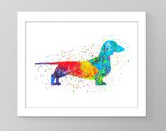 Watercolor wall art purebred dachshund printable home decor dog nursery children room silhouette cubicle trendy rainbow wall picture gift
