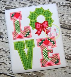 Wreath Love Applique from itch2stitch