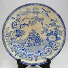 EARLY C19TH BLUE AND WHITE SPODE PATTERN PLATE MANDARIN OPAQUE CHINA | eBay