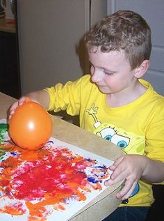 Balloon painting  childcareland.com - Early Learning Activities For Pre-K and Kindergarten
