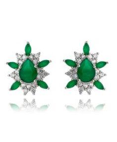 brinco moderno com zirconias esmeraldas e cristais com banho de rodio semi joias da moda