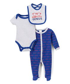 Look at this Blue & White 'Mommy's Genius' Bodysuit Set - Infant on #zulily today!