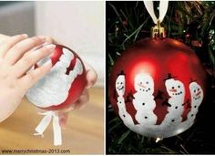 Fingers Snowman Balls Christmas Ornament Crafts for Kids Pinterest