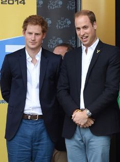 Prince Harry and Prince William, Duke of Cambridge attend the finish of Stage 1 of the Tour de France 2014 at Harrogate, Yorkshire, England.