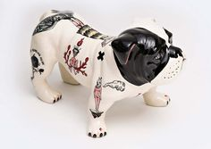 """Tattooed"" Ceramics by Evelyn Tannus Animal Sculptures, Sculpture Art, Photography Exhibition, Face Design, Contemporary Artwork, Best Artist, Dog Art, Art And Architecture, White Ceramics"