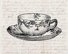 Kitchen Tea Cup Art Download Antique Teacup Graphic - Kitchen Art Frame It - Tea Cup Craft Clipart Transfer Scrapbook INSTANT DOWNLOAD ETSY