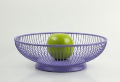 Lavender Metal Basket - Fruit Bowl - Shabby Chic - Painted and Distressed - Orchid