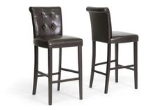 Baxton Studio Torrington Brown Modern Bar Stool - Set of 2
