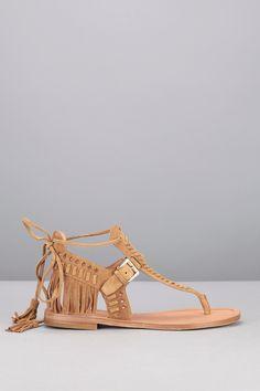 Sandales camel cuir frangé Alysa