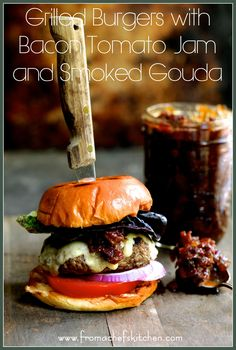 Fire up the grill for Father's Day! Made with The Fresh Market's made-in-store Gourmet Burgers, Grilled Burgers with Bacon – Tomato Jam and Smoked Gouda is a treat your dad will love! Bacon Jam Burger, Burger Meat, Gourmet Burgers, Burger And Fries, Beef Burgers, Dog Treat Recipes, Burger Recipes, Beef Recipes, Jam Recipes
