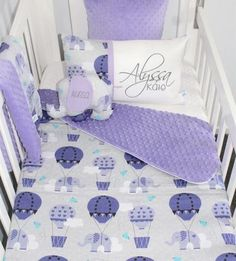Purple Hot Air Balloon Elephant Cot Baby Girl Bedding Set, Purple Elephant Baby Girl Bedding, Nursery Bedding Set Baby Cot Sets, Baby Girl Bedding Sets, Nursery Bedding Sets, Nursery Themes, Nursery Ideas, Elephant Baby Bedding, Elephant Themed Nursery, Baby Girl Elephant, Purple Elephant
